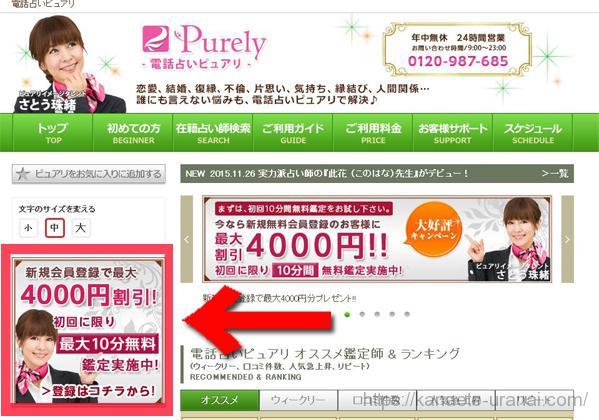 ピュアリのトップページから登録ページの紹介画像